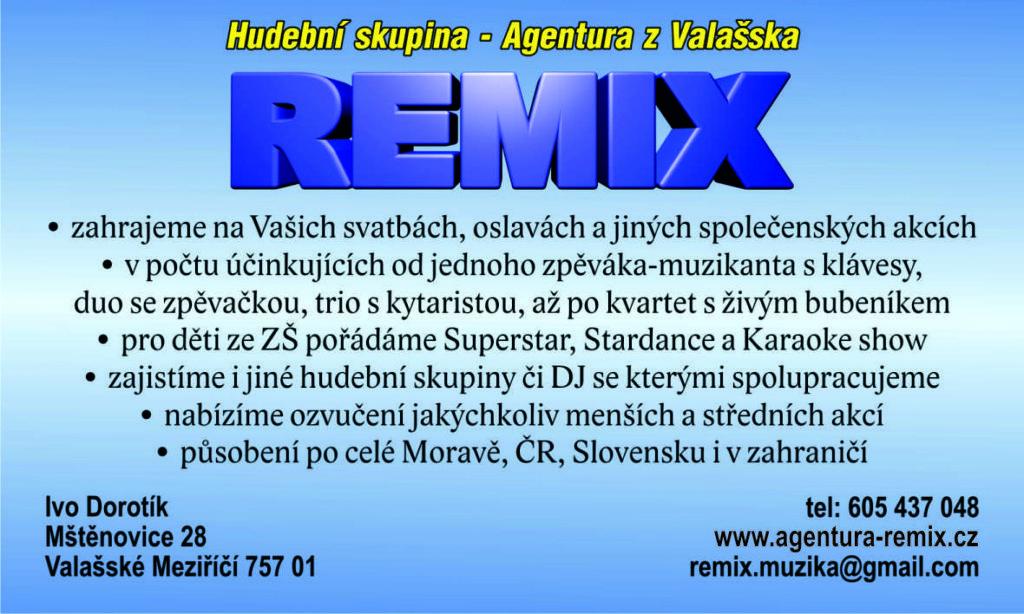 Vizitka REMIX - Hudební skupina a Agentura z Valašska